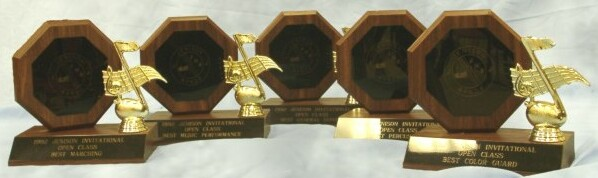 Trophies from 1992 Jennison marching competition