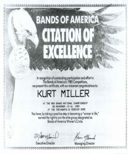 Kurt Miller was awarded a Citation of Excellence from BOA