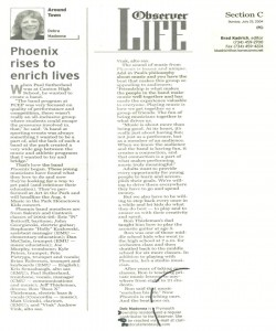 Observer Article (July 25th): Featuring `Phoenix`, the band that rose from the graduates of the PCMB pep band