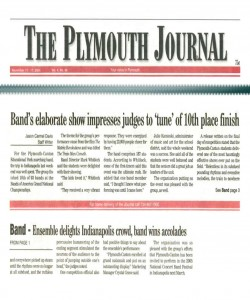 Plymouth Journal Article (November 11): Band`s Elaborate Show Impresses Judges