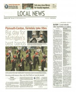 Freep Article (November 4): Big day for Michigan`s best bands, Plymouth-Canton, Ferndale take titles. The article covers the MCBA State Championships at Ford Field.