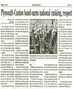 Journal Article (November 21): Plymouth-Canton band earns national ranking, respect.