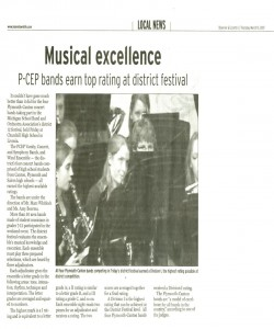 Observer Article (March 15): All 4 PCEP bands received Division 1 ranking at the district band festival this spring!