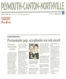 Free Press Article (July 1(: Percussionist pop, saxophonist son win award. The article covers Charles and PCMB marcher Corwin Stout who won the John Phillip Sousa award this year