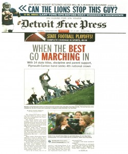Free Press Article (October 27): We made the front page of the Free Press with this article, When the Best go Marching in.  - Page 1
