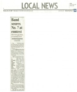Freep Article (November 19): Band Scores No. 7 at contest. Marchers get prize at national meet.