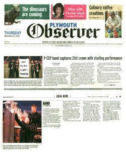 Observer Article (November 8): Front page on the Observer! P-CEP band captures 21st crown with sterling performance