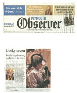 Observer Article (November 22): Lucky seven. Observer article by Dianne Hanson covers PCMB at Indy - Page 1