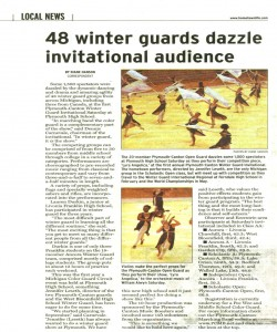Observer Article (February 1): 48 Winter Guards dazzle invitational audience. Observer article covers our Winter Guard show for 2007.