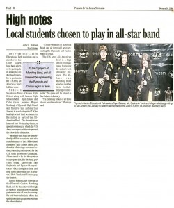 Journal Article (October 16): Ryan, Stephanie, and Megan were selected to perform as members of the 2009 US Army All-American Marching Band
