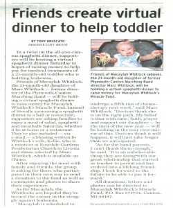 Observer Article (September 18): Fund raiser dinner for Macaylah