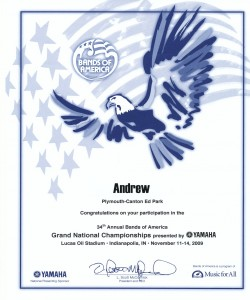 BOA Nationals Participation Certificate