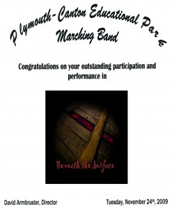 Certificate for Outstanding Performance awarded to all members at the 2009 Band Bandquet