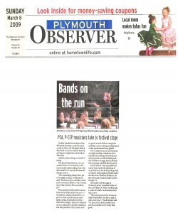 Observer Article (March 8): P-CEP musicians take festival stage.