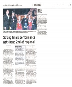 Observer Article (October 15): Strong Finals performance nets band 2nd at regional